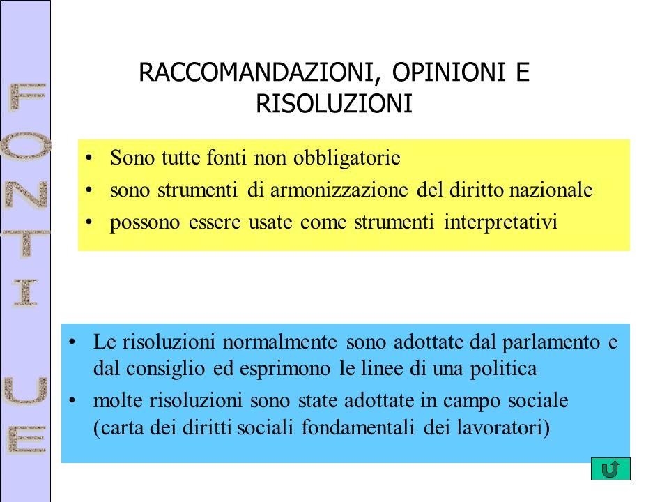 RACCOMANDAZIONI, OPINIONI E RISOLUZIONI Sono tutte fonti non obbligatorie sono strumenti di armonizzazione del diritto nazionale possono essere usate