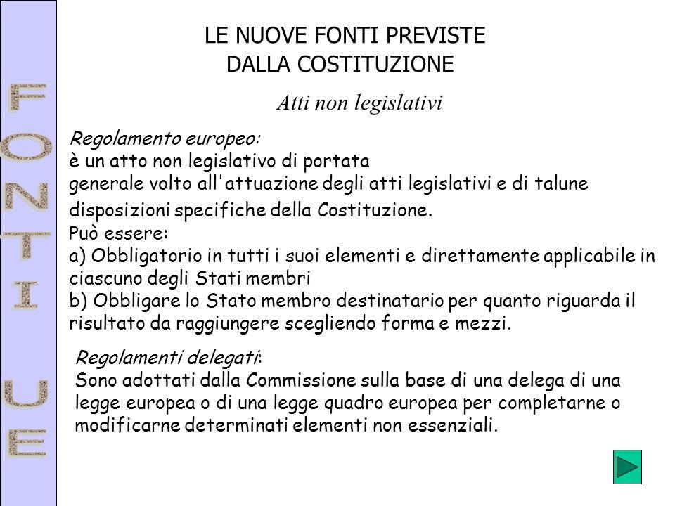 LE NUOVE FONTI PREVISTE DALLA COSTITUZIONE Atti non legislativi Regolamento europeo: è un atto non legislativo di portata generale volto all'attuazion