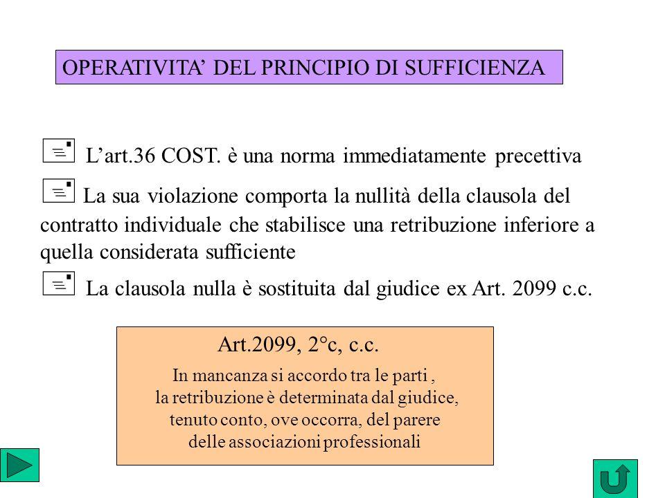 Lart.36 COST. è una norma immediatamente precettiva La sua violazione comporta la nullità della clausola del contratto individuale che stabilisce una
