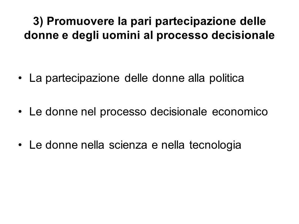 3) Promuovere la pari partecipazione delle donne e degli uomini al processo decisionale La partecipazione delle donne alla politica Le donne nel processo decisionale economico Le donne nella scienza e nella tecnologia