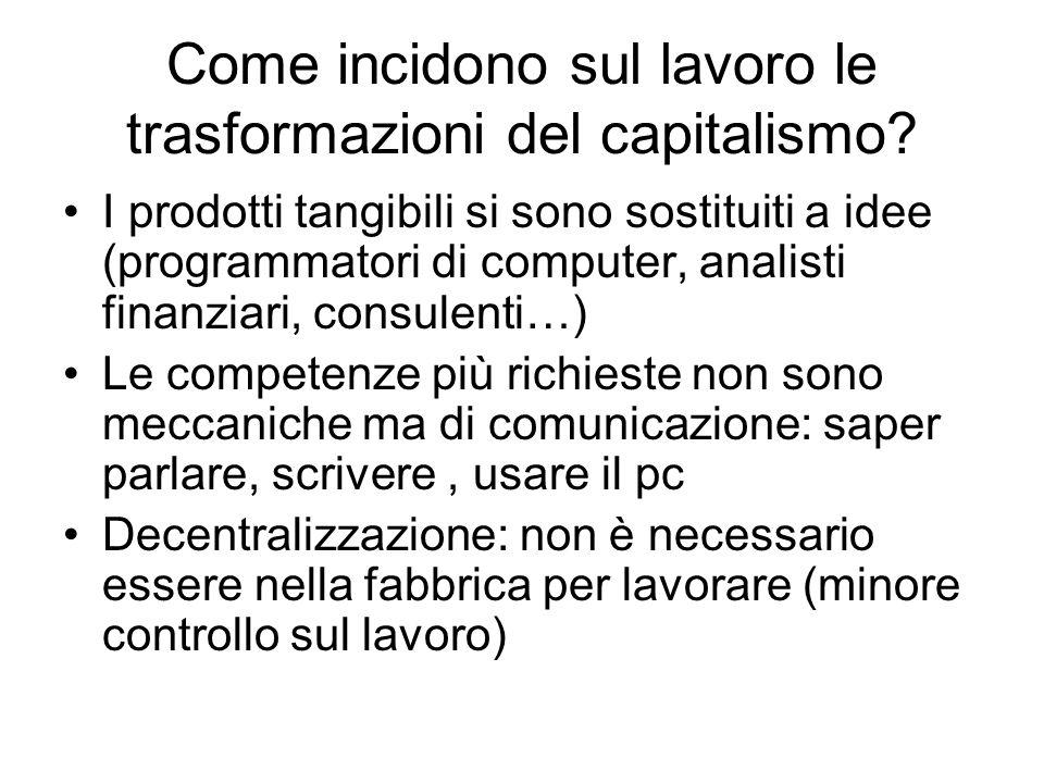 Come incidono sul lavoro le trasformazioni del capitalismo? I prodotti tangibili si sono sostituiti a idee (programmatori di computer, analisti finanz