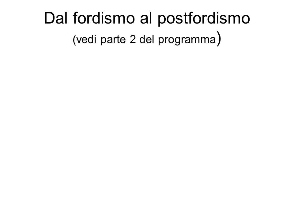 Dal fordismo al postfordismo (vedi parte 2 del programma )
