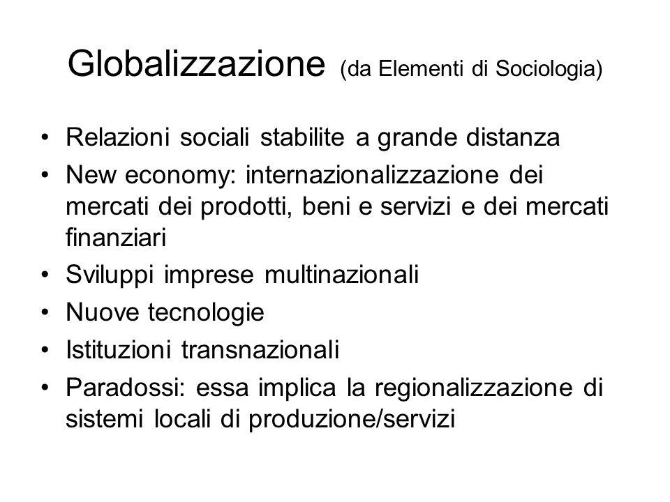 Globalizzazione (da Elementi di Sociologia) Relazioni sociali stabilite a grande distanza New economy: internazionalizzazione dei mercati dei prodotti
