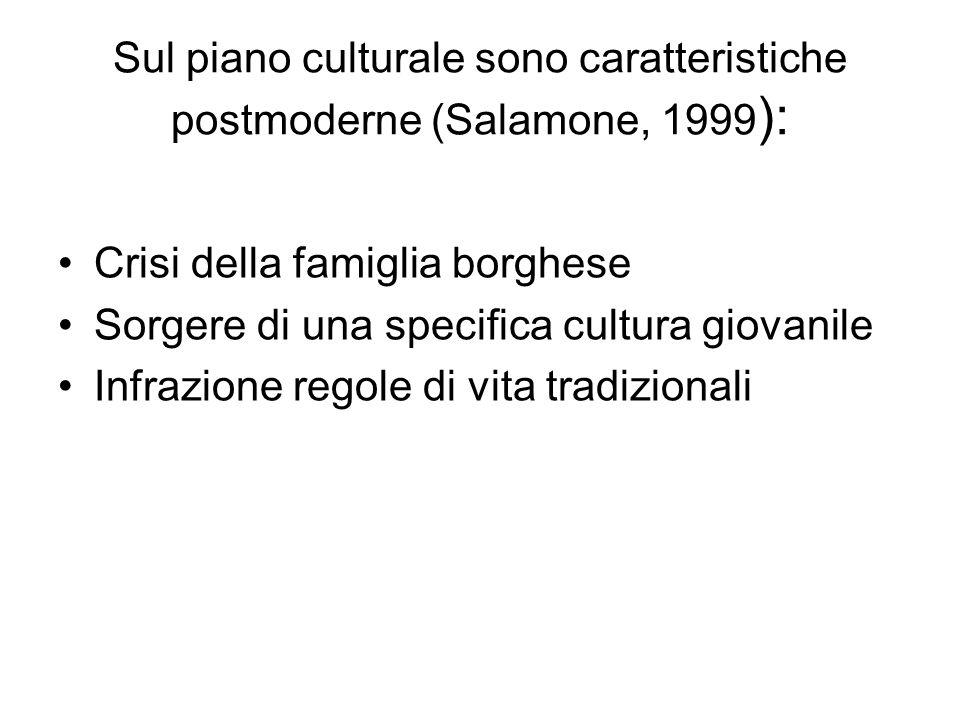 Sul piano culturale sono caratteristiche postmoderne (Salamone, 1999 ): Crisi della famiglia borghese Sorgere di una specifica cultura giovanile Infra