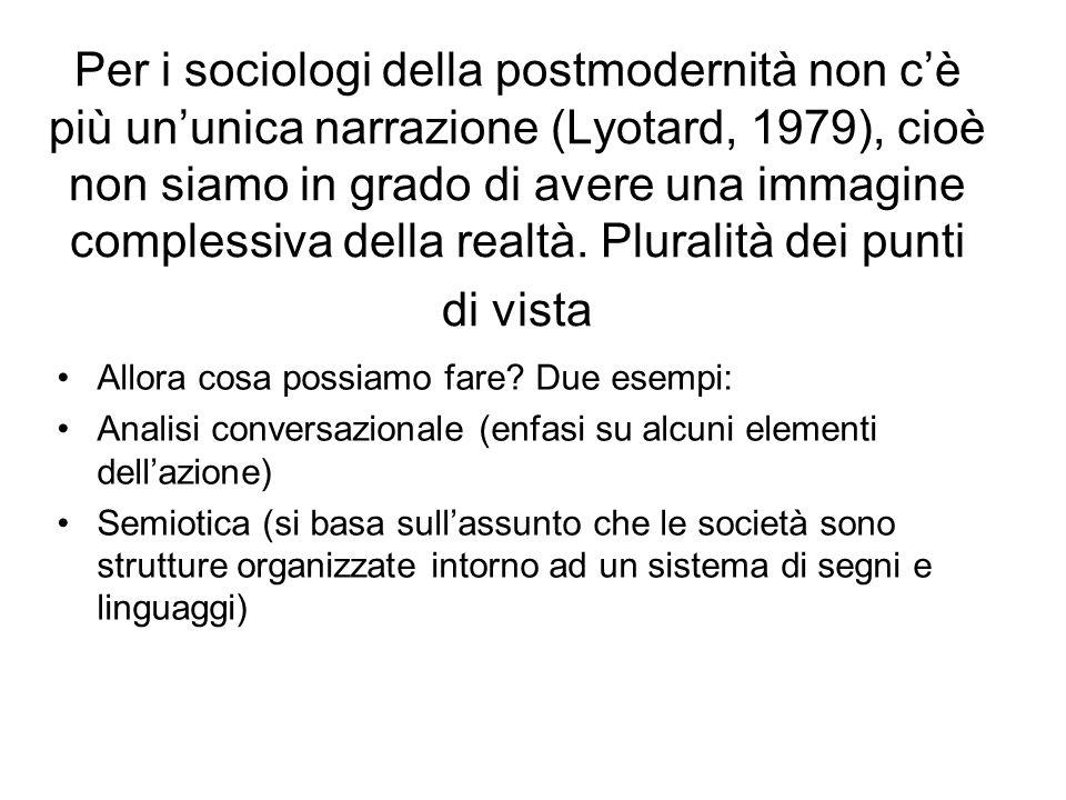 Per i sociologi della postmodernità non cè più ununica narrazione (Lyotard, 1979), cioè non siamo in grado di avere una immagine complessiva della rea