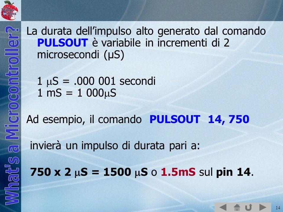 14 La durata dellimpulso alto generato dal comando PULSOUT è variabile in incrementi di 2 microsecondi (µS) 1 S =.000 001 secondi 1 mS = 1 000 S Ad es