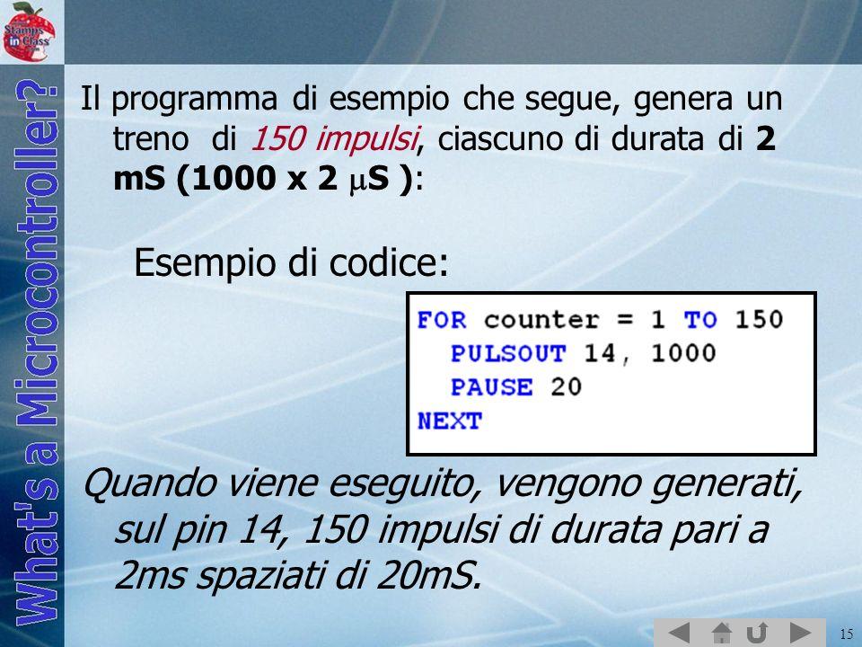 15 Il programma di esempio che segue, genera un treno di 150 impulsi, ciascuno di durata di 2 mS (1000 x 2 S ): Esempio di codice: Quando viene esegui