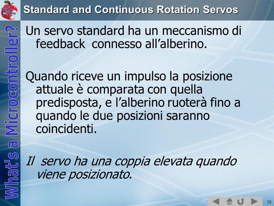 26 Standard and Continuous Rotation Servos Un servo standard ha un meccanismo di feedback connesso allalberino. Quando riceve un impulso la posizione