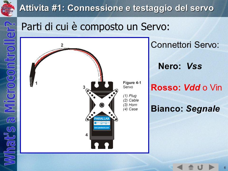 6 Attivita #1: Connessione e testaggio del servo Parti di cui è composto un Servo: Connettori Servo: Nero: Vss Rosso: Vdd o Vin Bianco: Segnale