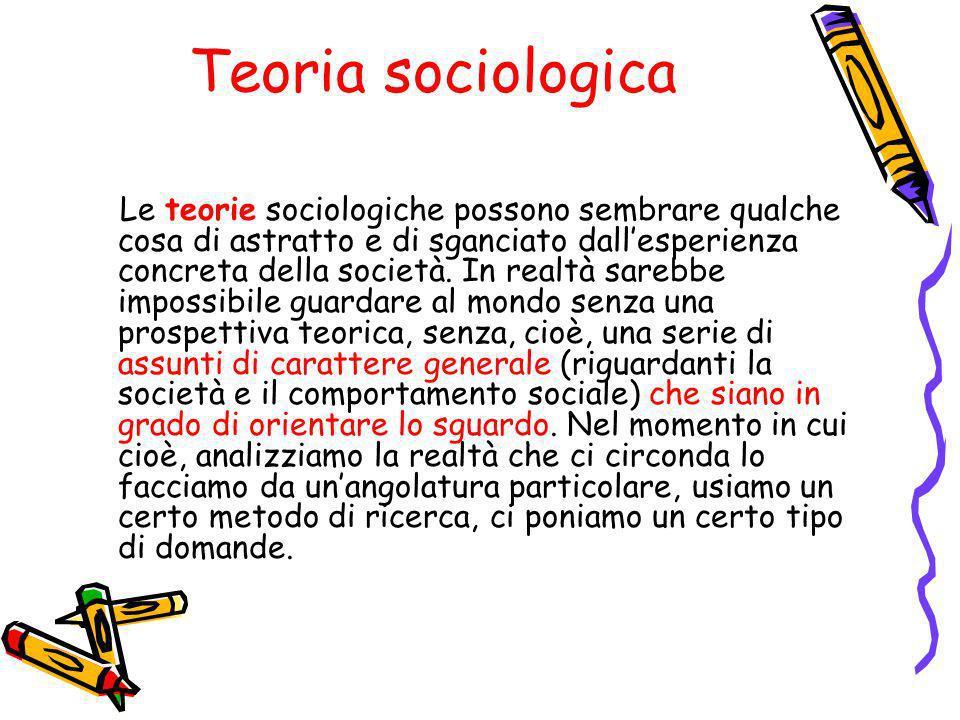 Teoria sociologica Le teorie sociologiche possono sembrare qualche cosa di astratto e di sganciato dallesperienza concreta della società.
