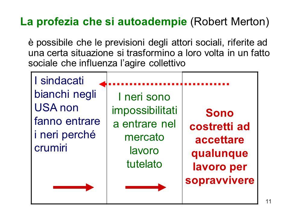 11 La profezia che si autoadempie (Robert Merton) è possibile che le previsioni degli attori sociali, riferite ad una certa situazione si trasformino