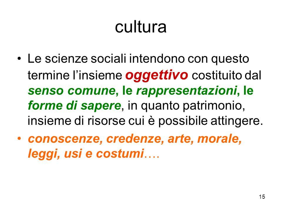 15 cultura Le scienze sociali intendono con questo termine linsieme oggettivo costituito dal senso comune, le rappresentazioni, le forme di sapere, in
