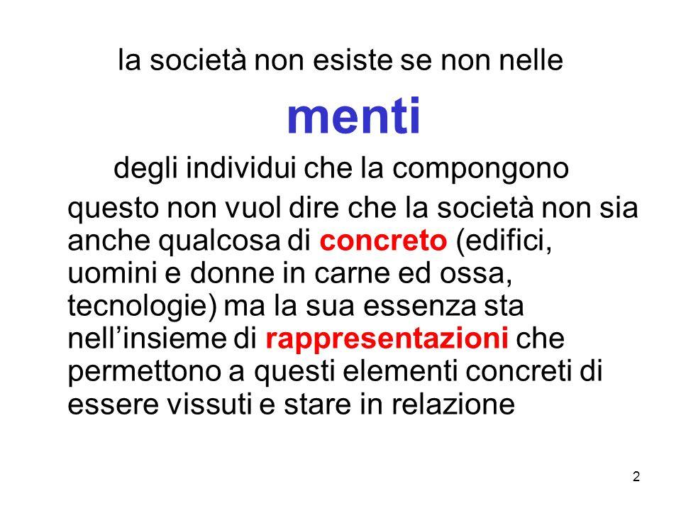 2 la società non esiste se non nelle menti degli individui che la compongono questo non vuol dire che la società non sia anche qualcosa di concreto (e