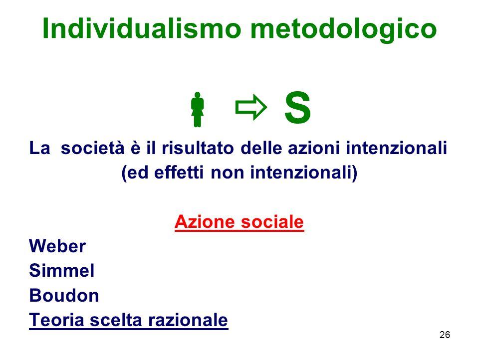 26 Individualismo metodologico S La società è il risultato delle azioni intenzionali (ed effetti non intenzionali) Azione sociale Weber Simmel Boudon