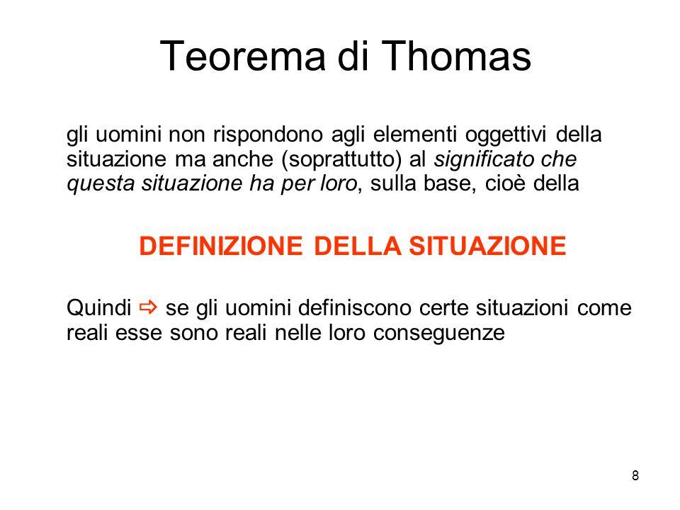 8 Teorema di Thomas gli uomini non rispondono agli elementi oggettivi della situazione ma anche (soprattutto) al significato che questa situazione ha