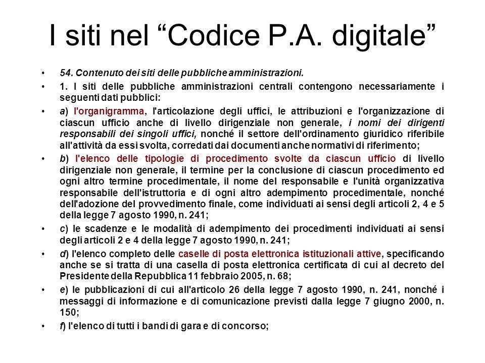 I siti nel Codice P.A.
