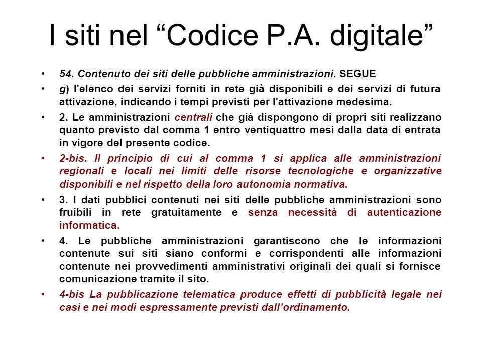 I siti nel Codice P.A. digitale 54. Contenuto dei siti delle pubbliche amministrazioni.