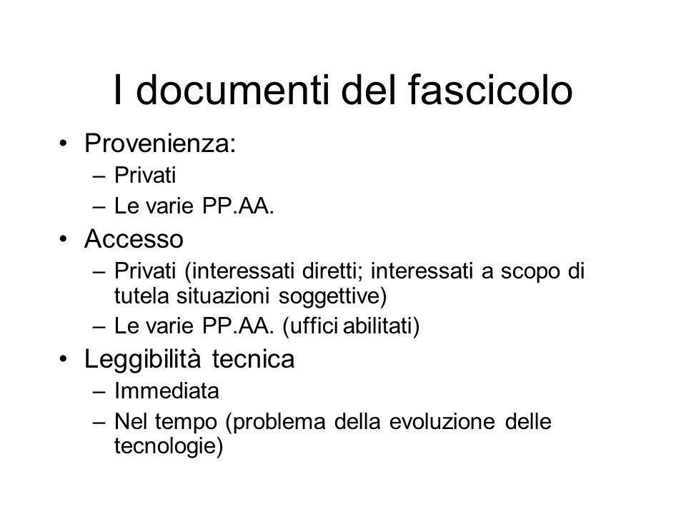 Il Dossier unico = fascicolo informatico Ricordarsi i capisaldi della teleamministrazione (sch.
