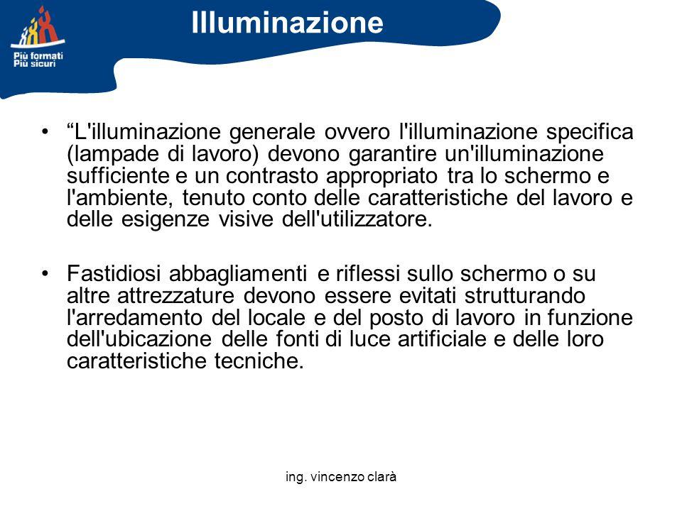ing. vincenzo clarà L'illuminazione generale ovvero l'illuminazione specifica (lampade di lavoro) devono garantire un'illuminazione sufficiente e un c