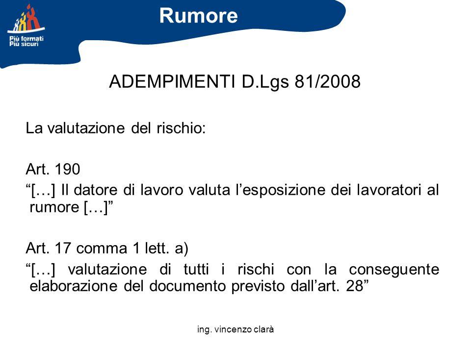 ing. vincenzo clarà ADEMPIMENTI D.Lgs 81/2008 La valutazione del rischio: Art. 190 […] Il datore di lavoro valuta lesposizione dei lavoratori al rumor