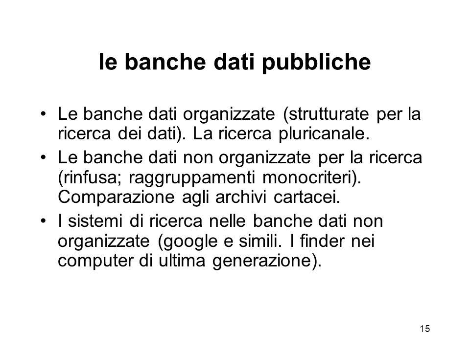 14 Linformazione automatica (infor- matique): le banche dati pubbliche Dai computer come calcolatori ai computer come gestione delle attività umane I