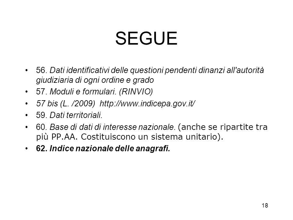17 Le Banche dati nel codice P.A. digitale Capo V - Dati delle pubbliche amministrazioni e servizi in rete –Sezione I - Dati delle pubbliche amministr