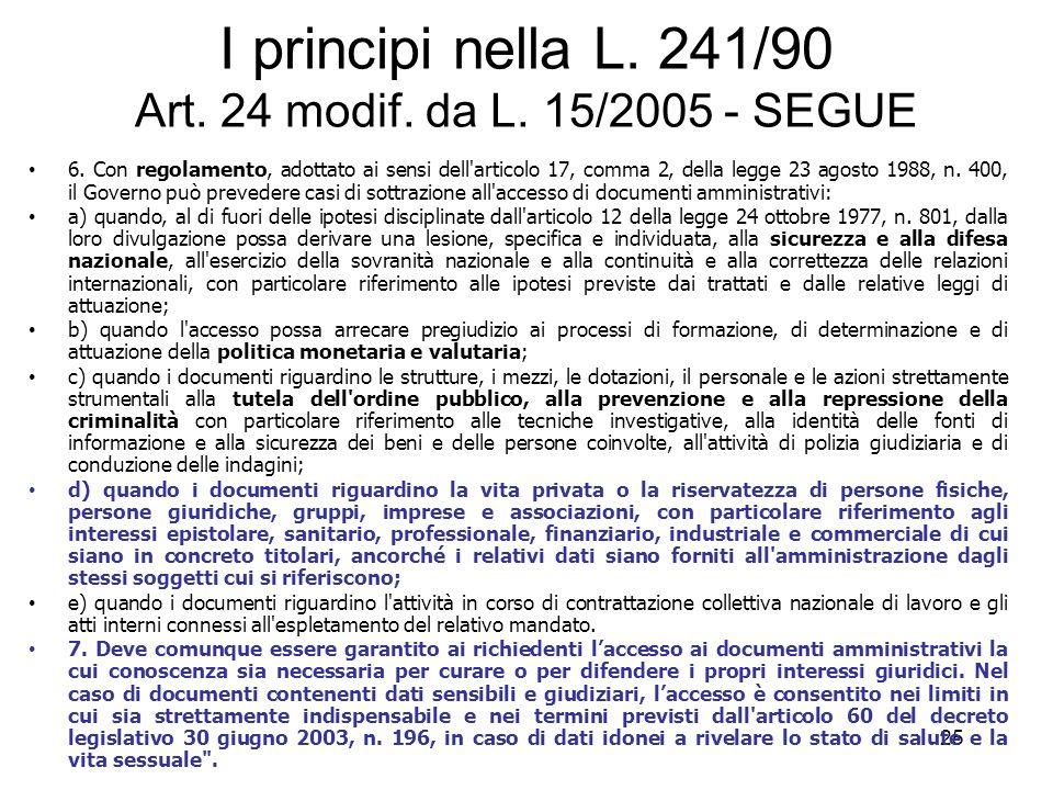 24 I principi nella L. 241/90 Art. 24 modif. da L. 15/2005 LETTURA COMMENTATA Articolo 24. ( 1 ) (Esclusione dal diritto di accesso) 1. Il diritto di