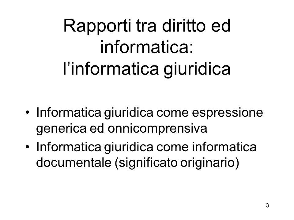 3 Rapporti tra diritto ed informatica: linformatica giuridica Informatica giuridica come espressione generica ed onnicomprensiva Informatica giuridica come informatica documentale (significato originario)
