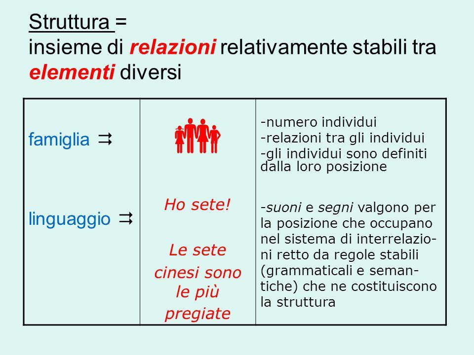Struttura = insieme di relazioni relativamente stabili tra elementi diversi famiglia linguaggio Ho sete! Le sete cinesi sono le più pregiate -numero i