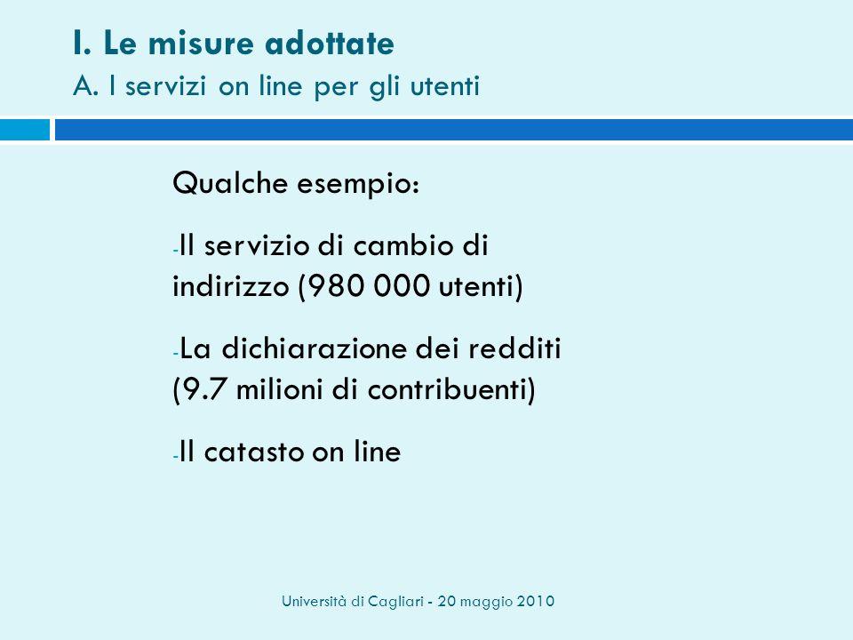Università di Cagliari - 20 maggio 2010 Qualche esempio: - Il servizio di cambio di indirizzo (980 000 utenti) - La dichiarazione dei redditi (9.7 milioni di contribuenti) - Il catasto on line I.