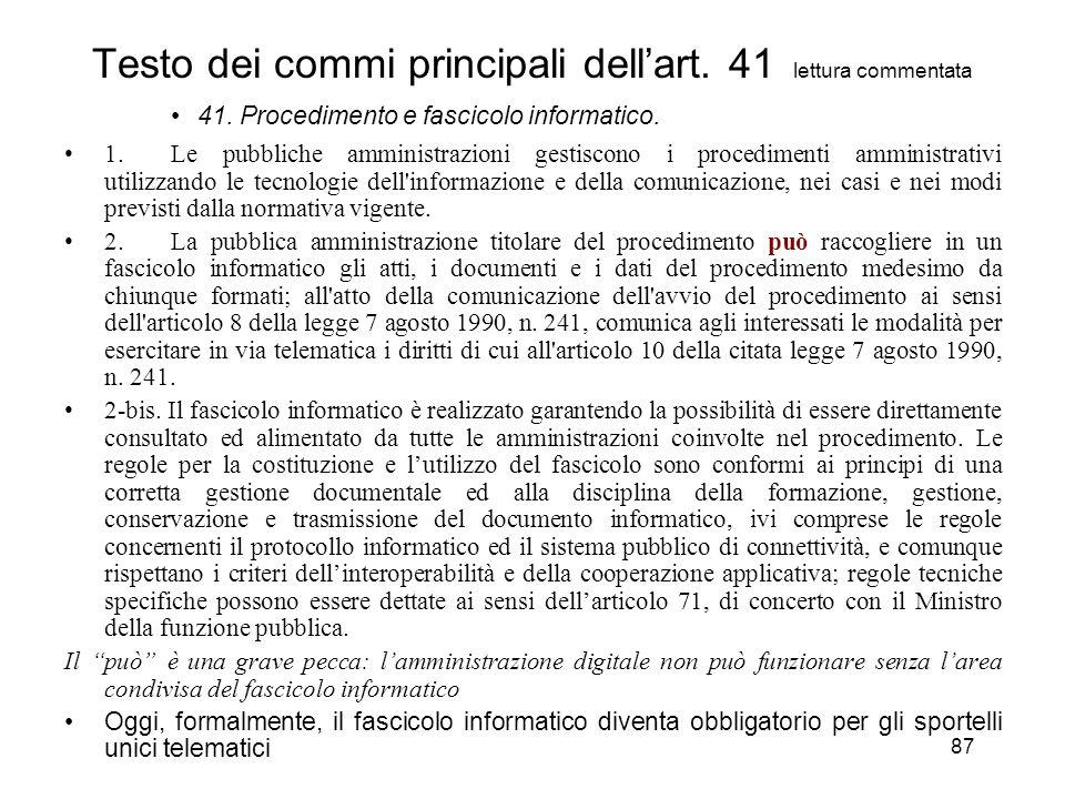 87 Testo dei commi principali dellart. 41 lettura commentata 41.
