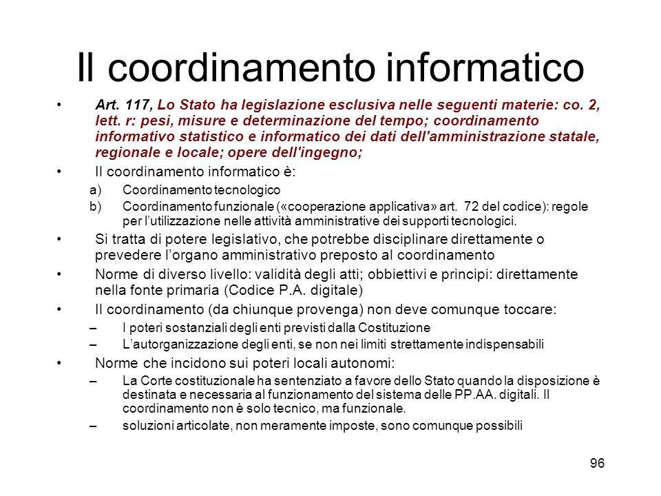 96 Il coordinamento informatico Art.