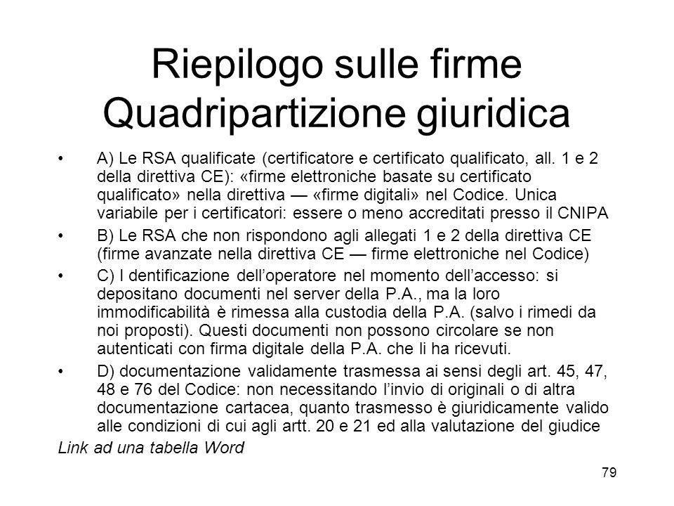 79 Riepilogo sulle firme Quadripartizione giuridica A) Le RSA qualificate (certificatore e certificato qualificato, all.