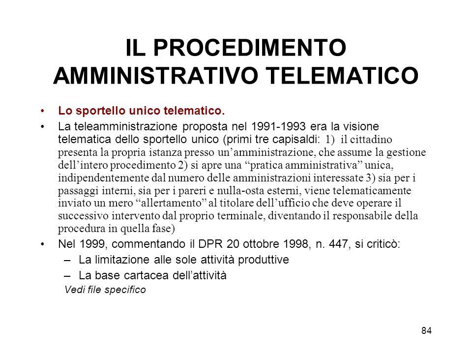 85 Lo sportello unico telematico (segue) Lo sportello unico telematico nel codice dellamministrazione digitale: Art.