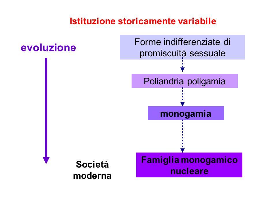 Istituzione storicamente variabile Forme indifferenziate di promiscuità sessuale Poliandria poligamia monogamia Famiglia monogamico nucleare evoluzion