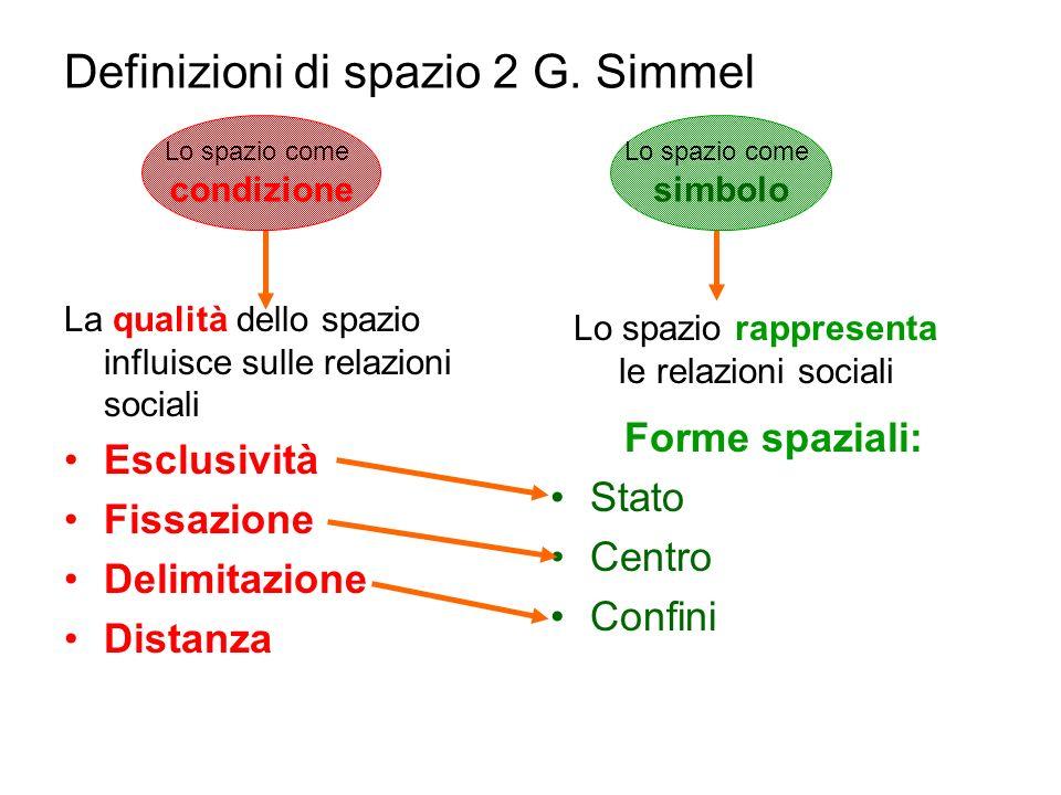 Definizioni di spazio 2 G. Simmel La qualità dello spazio influisce sulle relazioni sociali Esclusività Fissazione Delimitazione Distanza Forme spazia