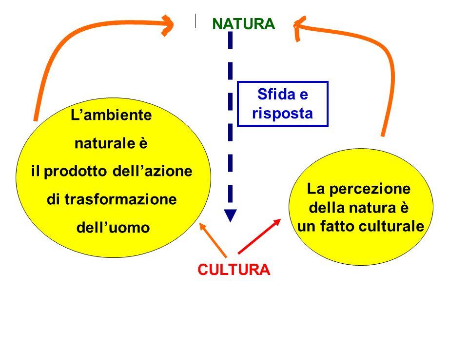 NATURA CULTURA La percezione della natura è un fatto culturale Lambiente naturale è il prodotto dellazione di trasformazione delluomo Sfida e risposta