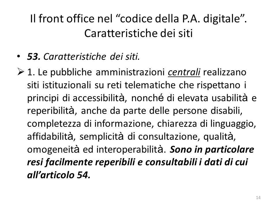 14 Il front office nel codice della P.A. digitale.