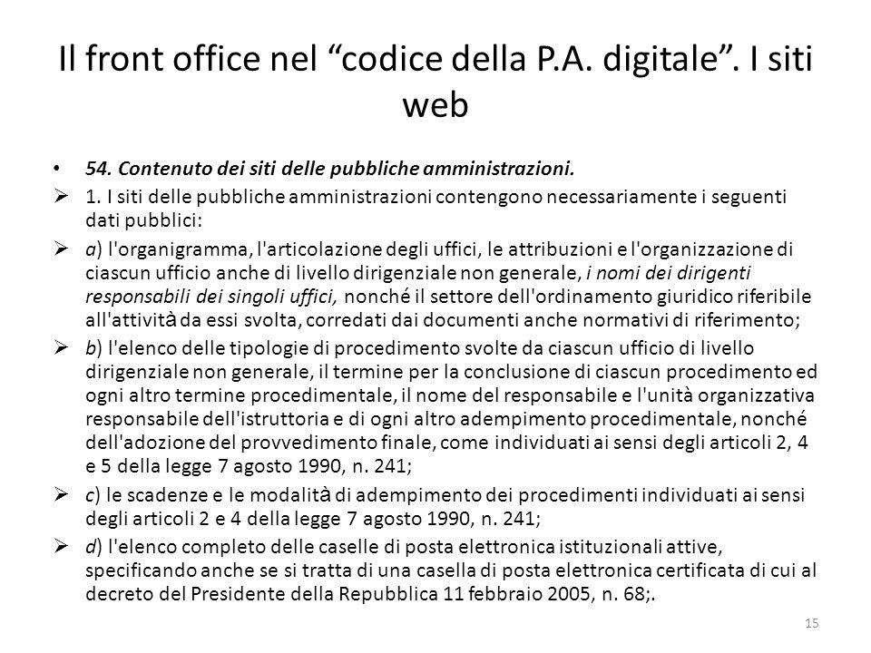 15 Il front office nel codice della P.A. digitale.