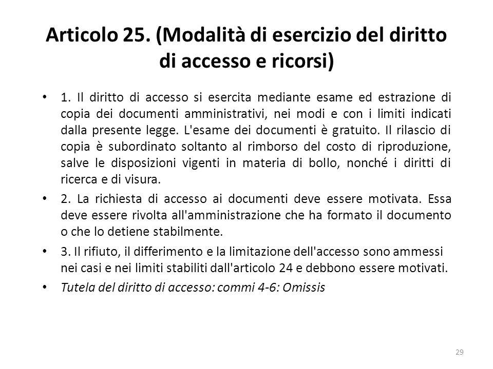 29 Articolo 25. (Modalità di esercizio del diritto di accesso e ricorsi) 1.