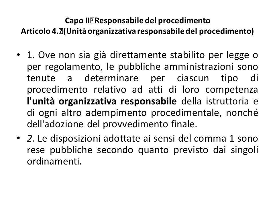 Capo II Responsabile del procedimento Articolo 4.