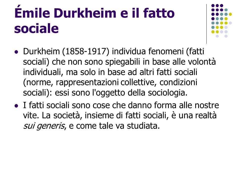 Émile Durkheim: società semplici e complesse Non tutte le società sono uguali: quelle in cui la divisione del lavoro è elevata e i ruoli sociali diversificati ha una densità morale incomparabile, cioè non ha più un fondamento comune in termini di valori, norme, compiti e mansioni individuali.