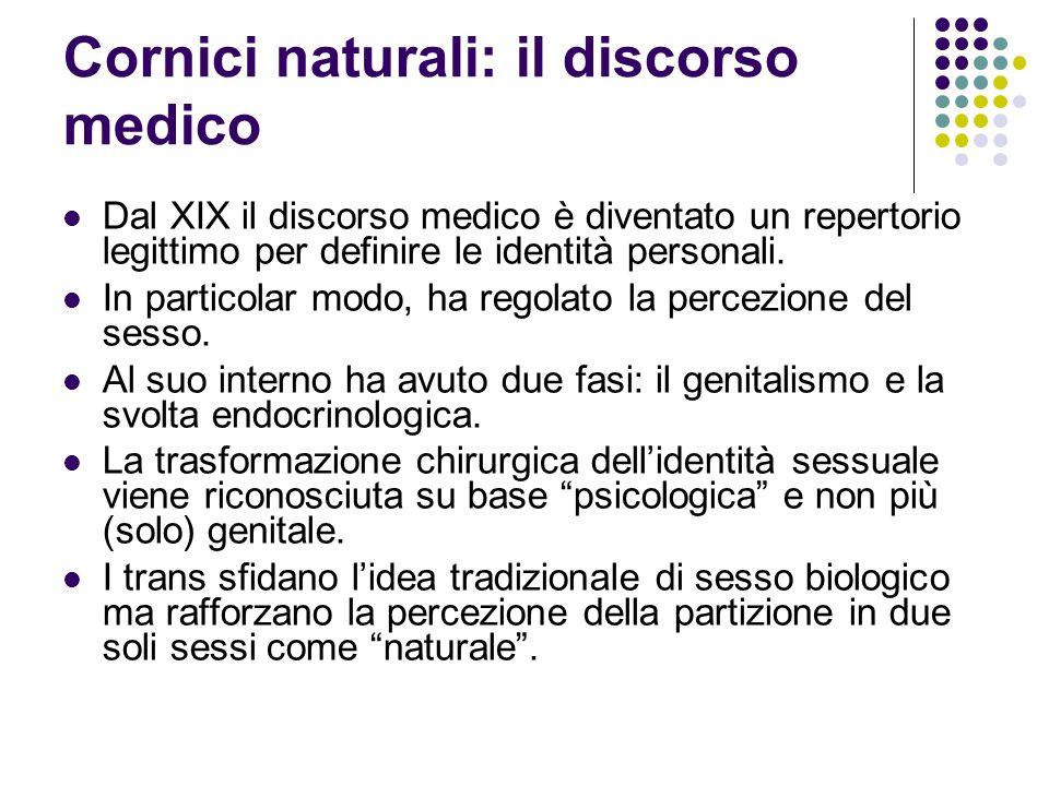 Cornici naturali: il discorso medico Dal XIX il discorso medico è diventato un repertorio legittimo per definire le identità personali.