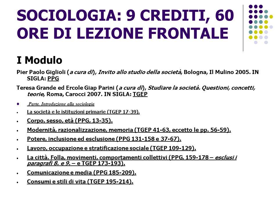 SOCIOLOGIA: 9 CREDITI, 60 ORE DI LEZIONE FRONTALE II modulo Herbert Blumer, La metodologia dell interazionismo simbolico, Roma, Armando Armando 2006, IN SIGLA: BLU.