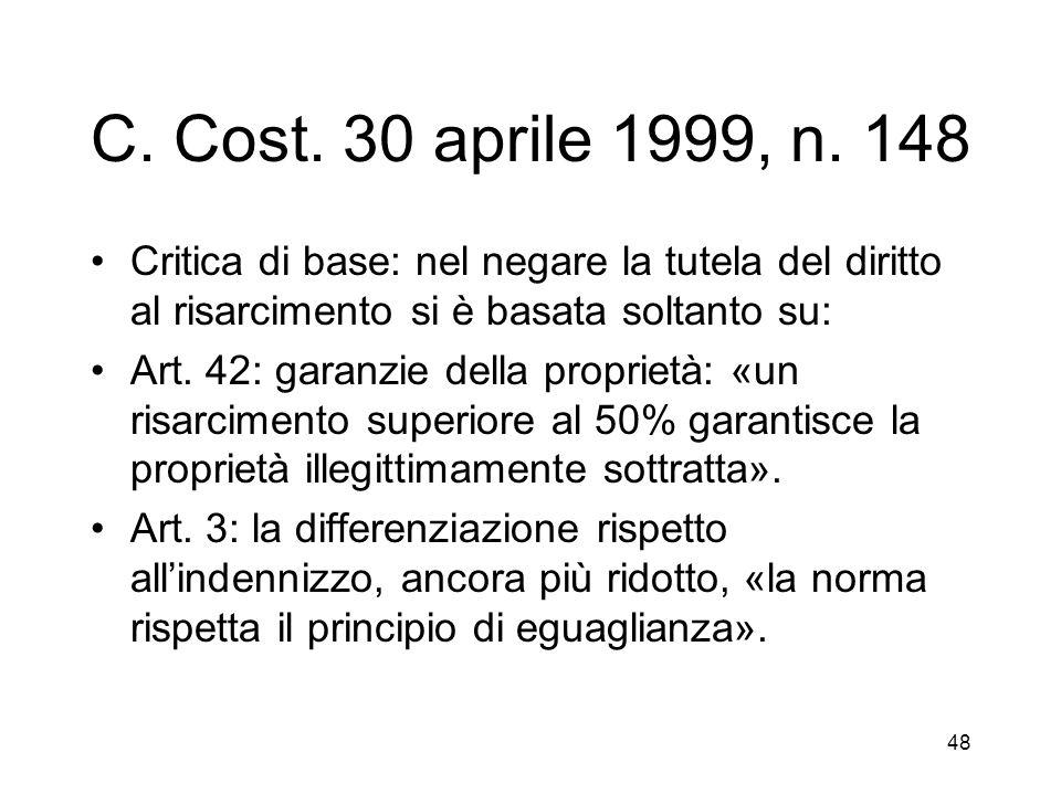 48 C. Cost. 30 aprile 1999, n.