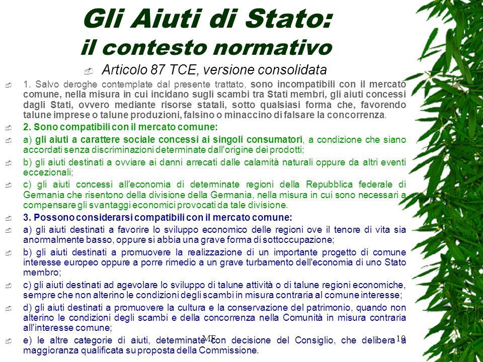 MF10 Gli Aiuti di Stato: il contesto normativo Articolo 87 TCE, versione consolidata 1.
