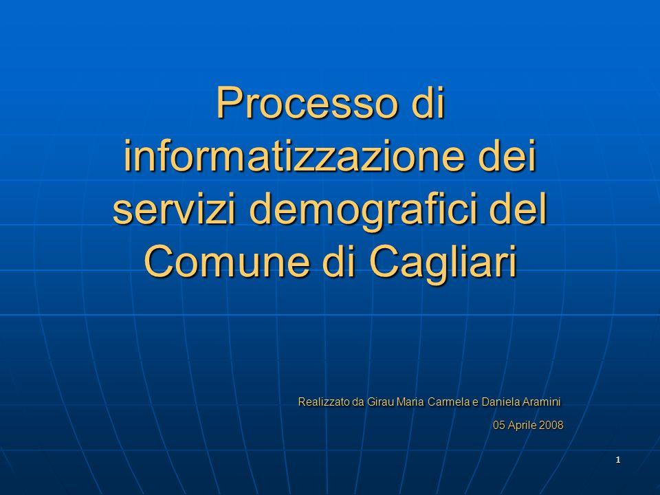 1 Processo di informatizzazione dei servizi demografici del Comune di Cagliari Realizzato da Girau Maria Carmela e Daniela Aramini 05 Aprile 2008