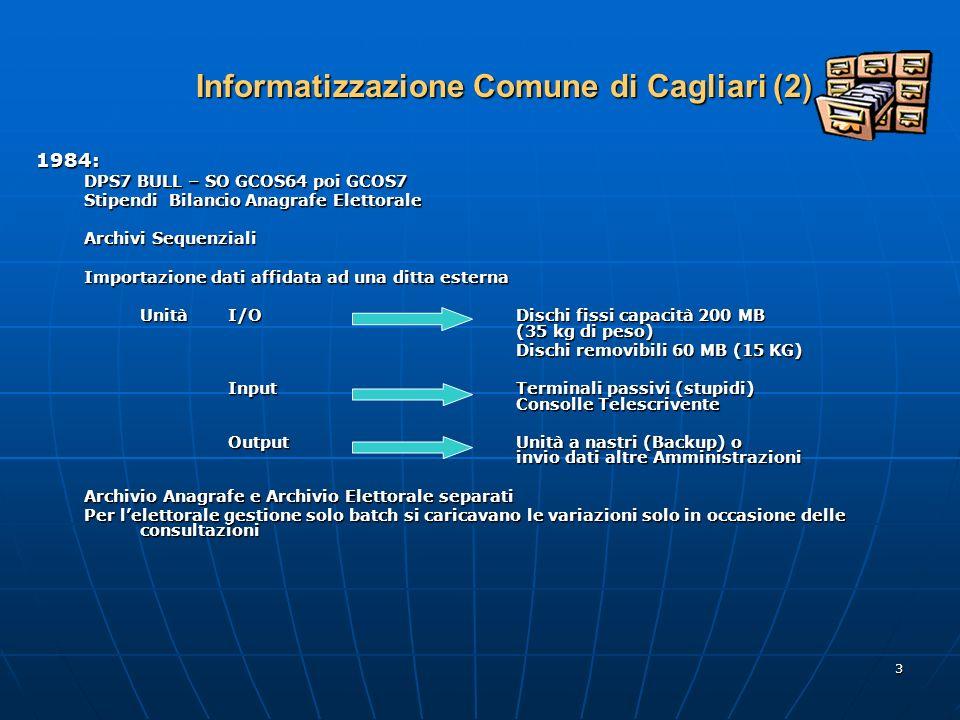 3 Informatizzazione Comune di Cagliari (2) 1984: DPS7 BULL – SO GCOS64 poi GCOS7 Stipendi Bilancio Anagrafe Elettorale Archivi Sequenziali Importazione dati affidata ad una ditta esterna UnitàI/ODischi fissi capacità 200 MB (35 kg di peso) Dischi removibili 60 MB (15 KG) Input Terminali passivi (stupidi) Consolle Telescrivente OutputUnità a nastri (Backup) o invio dati altre Amministrazioni Archivio Anagrafe e Archivio Elettorale separati Per lelettorale gestione solo batch si caricavano le variazioni solo in occasione delle consultazioni