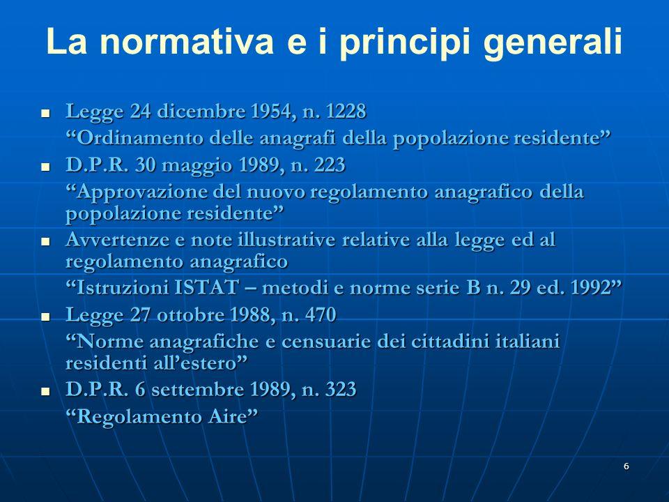 6 La normativa e i principi generali Legge 24 dicembre 1954, n.