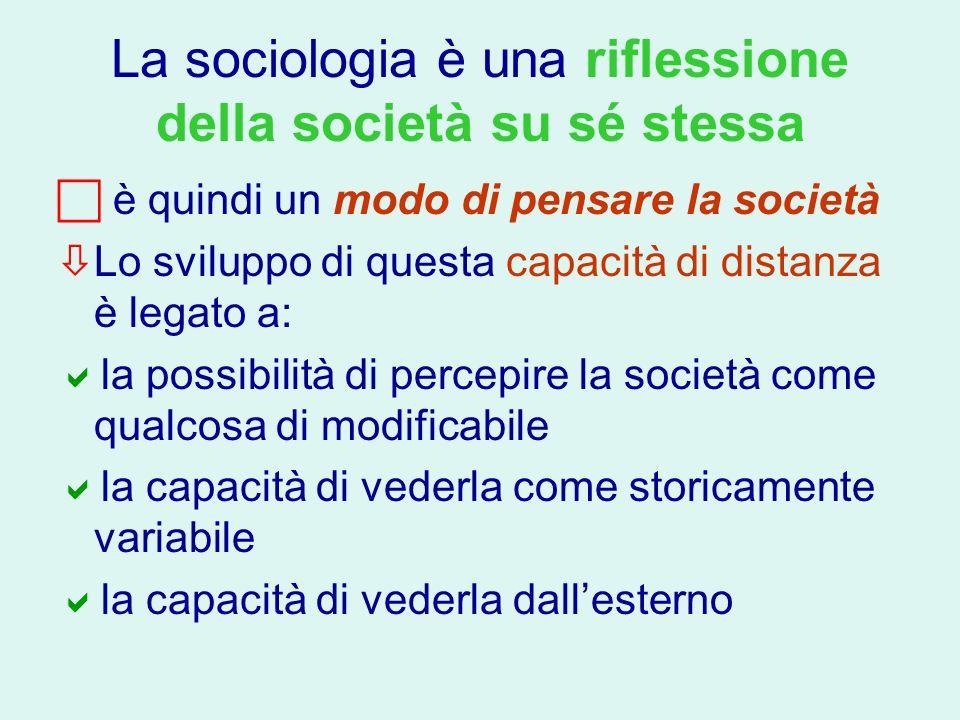 La sociologia è una riflessione della società su sé stessa è quindi un modo di pensare la società Lo sviluppo di questa capacità di distanza è legato